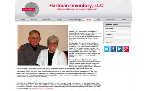 Screenshot of About Page hartmaninventory.com - About Hartman Inventory | Hartman Inventory, LLC - captured Oct. 2, 2014