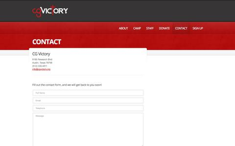 Screenshot of Contact Page FAQ Page cgvictory.org - CONTACT | CG Victory - captured Nov. 30, 2017