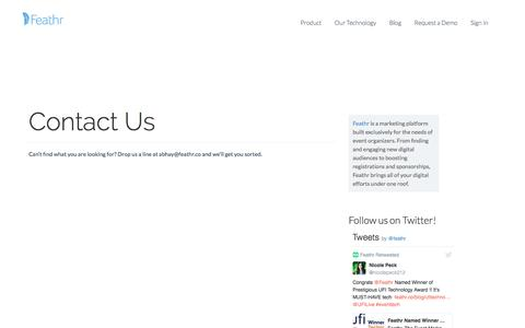 Screenshot of Contact Page feathr.co - Contact Us | Feathr - captured July 3, 2016