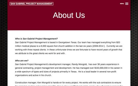 Screenshot of About Page sgmanage.com - About Us | San Gabriel Project Management - captured Oct. 4, 2014