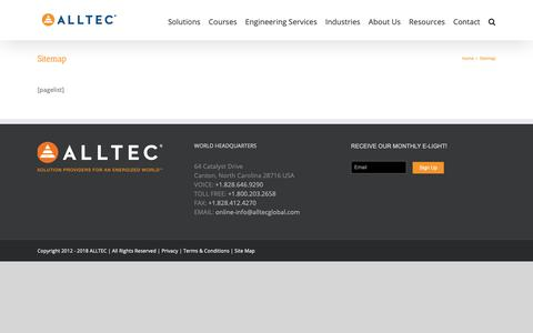 Screenshot of Site Map Page alltecglobal.com - Sitemap - Alltec - Grounding, Surge Suppression, and Lightning Protection - captured Oct. 3, 2018