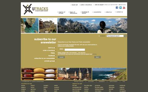 Screenshot of Signup Page utracks.com - Contact Us - subscribe to our enewsletter - captured Oct. 26, 2014
