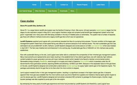 Screenshot of Case Studies Page landfillsystems.co.uk - Case Studies - captured Jan. 7, 2020