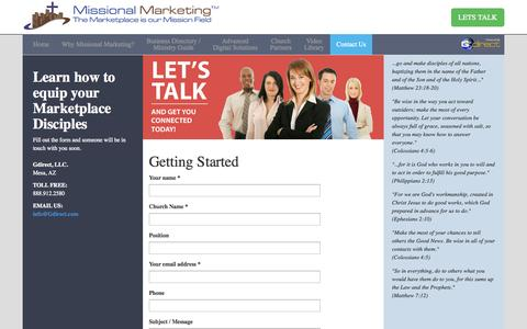 Screenshot of Contact Page missionalmarketing.com - Missional Marketing - captured Oct. 7, 2014