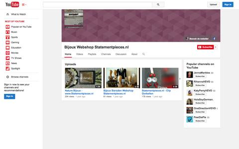 Screenshot of YouTube Page youtube.com - Bijoux Webshop Statementpieces.nl  - YouTube - captured Nov. 4, 2014
