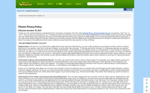Screenshot of Privacy Page rottentomatoes.com - Rotten Tomatoes: Legal Documents - captured July 20, 2014