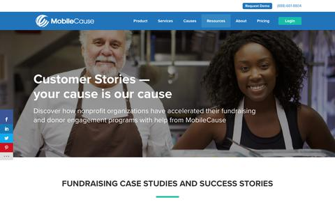 Screenshot of Case Studies Page mobilecause.com - Fundraising Case Studies and Success Stories – MobileCause - captured July 15, 2019