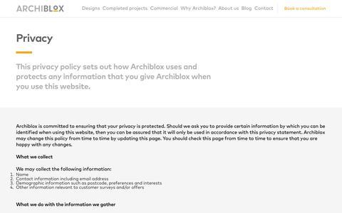 Screenshot of Privacy Page archiblox.com.au - Privacy - Archiblox - captured Oct. 8, 2017