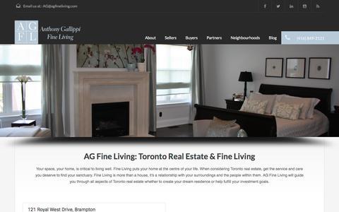 Screenshot of Home Page agfineliving.com - Toronto Real Estate & Fine Living | Anthony Gallippi Fine Living - captured Dec. 22, 2015