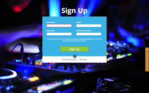 Screenshot of Signup Page beatneek.com - The Social DJ Platform  - The Social DJ Platform  - Sign up - captured Oct. 5, 2014