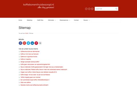 Screenshot of Site Map Page koffiebonenthuisbezorgd.nl - Sitemap | Koffiebonenthuisbezorgd - captured Oct. 6, 2014