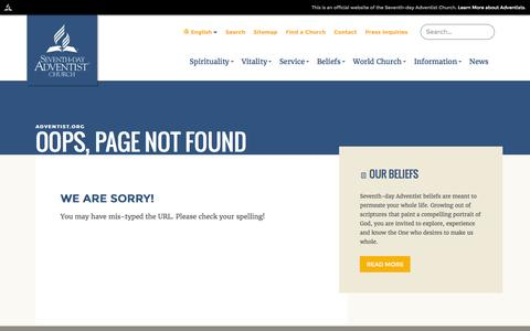 Screenshot of Privacy Page Menu Page adventist.org - Oops, page not found :: The Official Site of the Seventh-day Adventist world church - captured Nov. 4, 2016