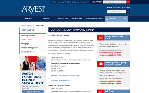 Screenshot of Support Page arvest.com - Contact Security Bankcard Center - captured May 19, 2019