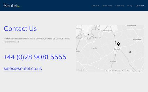 Screenshot of Contact Page sentel.co.uk - Contact — Sentel - captured Oct. 20, 2018