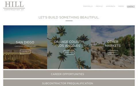 Screenshot of Contact Page hillconstructioncompany.com - CONTACT - captured Aug. 6, 2019