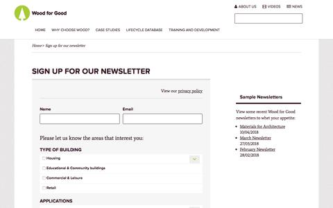 Screenshot of Signup Page woodforgood.com - Sign up for our newsletter - captured Sept. 20, 2018