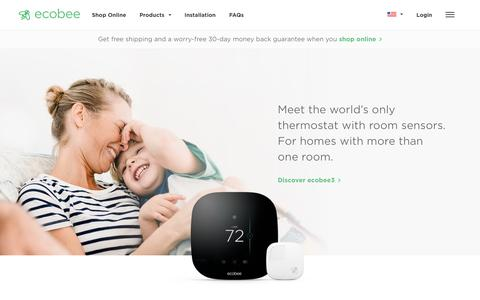 Screenshot of Home Page ecobee.com - Smart WiFi Thermostats by ecobee | - captured Oct. 19, 2016