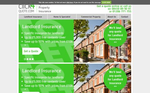 Screenshot of Home Page click4quote.com - Landlord & Property Insurance | UK Insurance Quotes Online |click4quote.com - captured Oct. 2, 2014