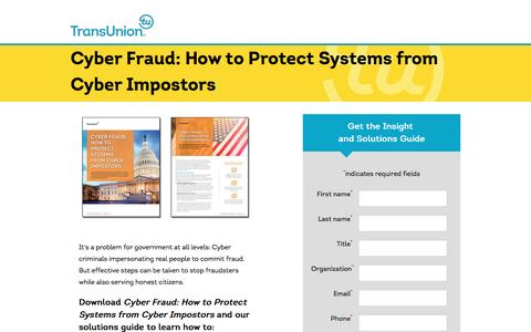Screenshot of Landing Page transunion.com - Cyber Fraud | Government | TransUnion - captured Feb. 8, 2017