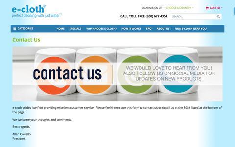 Screenshot of Contact Page ecloth.com - Contact Us - captured Oct. 31, 2017