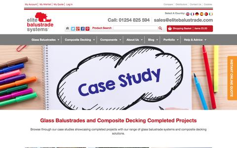 Screenshot of Case Studies Page elitebalustrade.com - Case Studies | Glass Balustrades and Composite Decking Projects - captured Nov. 5, 2016