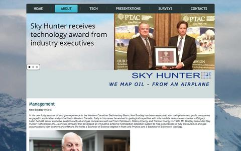 Screenshot of Team Page skyhunter.ca - Management - captured Oct. 9, 2014