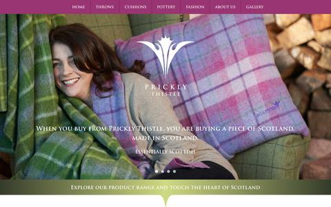 Screenshot of Home Page pricklythistlescotland.co.uk - Luxury Scottish Tartan Cushions, Throws, Fashion & Homeware · Prickly Thistle - captured Oct. 3, 2014