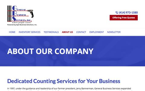Screenshot of About Page countinv.com - Counting Services, Inventory Software | Menomonee Falls, WI - captured July 24, 2017