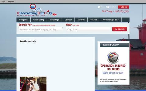 Screenshot of Testimonials Page discoveringourcity.com - Testimonials - DiscoveringOurCity.com - captured Oct. 5, 2014