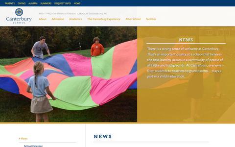 Screenshot of Press Page canterburygso.org - News | Canterbury School - captured Sept. 26, 2018