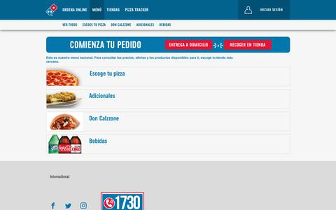 Screenshot of Menu Page dominos.com.gt - categoryviewAll - Menú general - captured Sept. 28, 2018