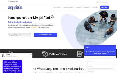 Screenshot of Home Page companiesinn.com - India's First Online Company Registration and LLP Registration services provider | Companiesinn - captured June 17, 2019
