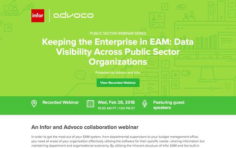 Screenshot of Landing Page infor.com - Keeping the Enterprise in EAM: Data Visibility Across Public Sector Organizations - captured April 1, 2018
