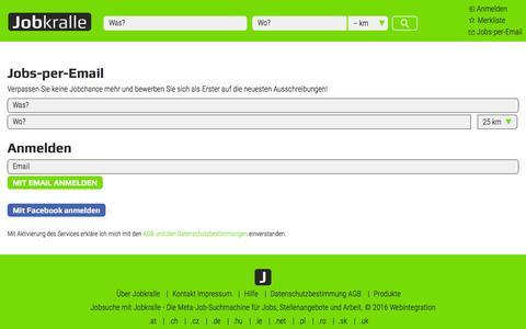 Screenshot of Signup Page jobkralle.ch - Jobs - Stellenangebote - Arbeit - Jobsuche in der Schweiz - Jobkralle - captured Aug. 30, 2016