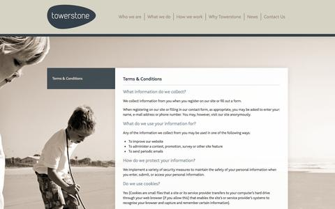 Screenshot of Terms Page towerstonepartners.com - Terms & Conditions | Towerstone Partners - captured Oct. 7, 2014