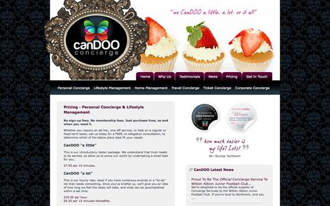 Screenshot of Pricing Page candooconcierge.com - Pricing CanDOO's Concierge Services - CanDOO Concierge West Cheshire - captured Sept. 26, 2014
