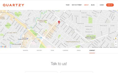 Screenshot of Contact Page quartzy.com - Quartzy | The free and easy way to manage your lab inventory and order requests. - captured Jan. 10, 2017