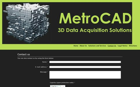 Screenshot of Contact Page metrocad.co.uk - MetroCAD 3D Laser Scanning Data Acquisition Solutions for and existing Plant, Machinery or Architechture - Contact Us - captured Nov. 28, 2016