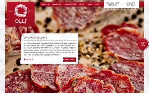 Screenshot of Home Page olli.com - Home - Olli SalumeriaOlli Salumeria - captured Jan. 26, 2015