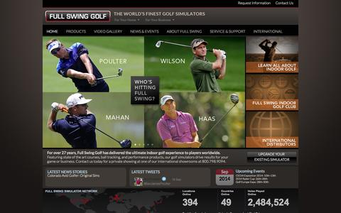 Screenshot of Home Page fullswinggolf.com - Full Swing golf simulator, golf simulator, golf simuators, golf simulators for home, indoor golf, Worldwide Leader in Golf Simulation - captured Sept. 30, 2014