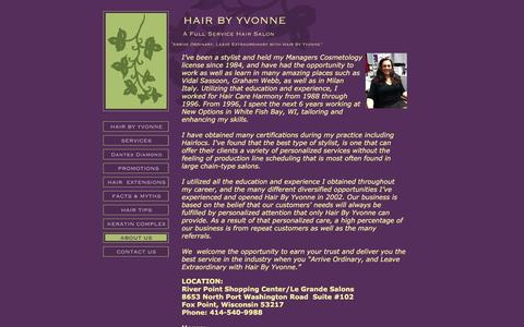 Screenshot of About Page hairbyyvonne.com - HAIR BY YVONNE - ABOUT US - Fox Point, WI - captured May 13, 2017