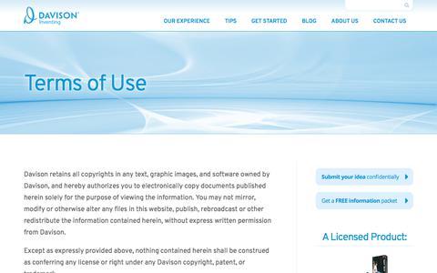 Screenshot of Terms Page davison.com - Terms of Use | Davison - captured Aug. 6, 2018