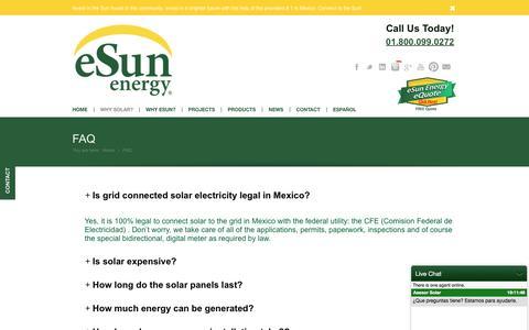 Screenshot of FAQ Page esunenergy.com - eSun Energy |   FAQ - captured July 19, 2016