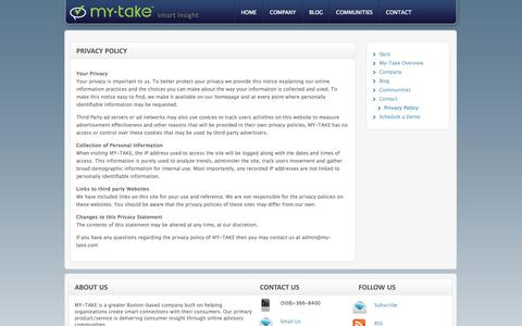 Screenshot of Privacy Page my-take.com - Privacy Policy | my-take smart insight - captured Sept. 19, 2014