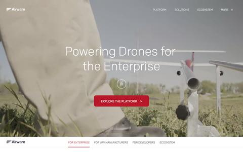 Screenshot of Home Page airware.com - Airware | Commercial Drone Software, Hardware and Cloud Services - captured July 16, 2015