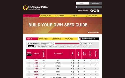 Screenshot of Products Page greatlakeshybrids.com - Corn - captured May 23, 2017