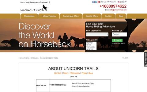 Screenshot of About Page Contact Page Team Page unicorntrails.com - Quality Horse Riding Holidays Worldwide *Unicorn Trails* - captured Nov. 12, 2017