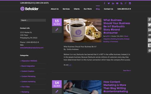 Screenshot of Blog beholderproductions.com - A Creative Agency Blog - Beholder Blog | Beholder - captured Oct. 29, 2014