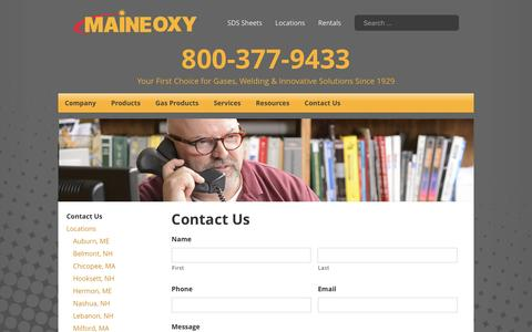 Screenshot of Contact Page maineoxy.com - Contact Us - Maine Oxy | Specialty Gases and Welding Supplies - captured May 26, 2017