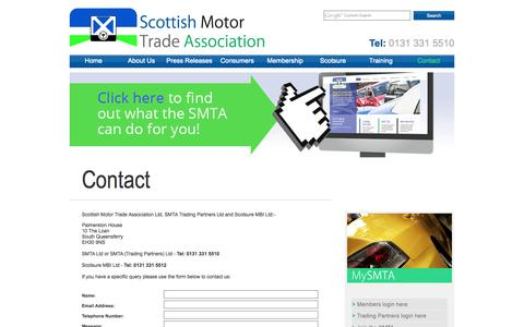 Screenshot of Contact Page smta.co.uk - Contact | Scottish Motor Trade Association - captured Oct. 7, 2014